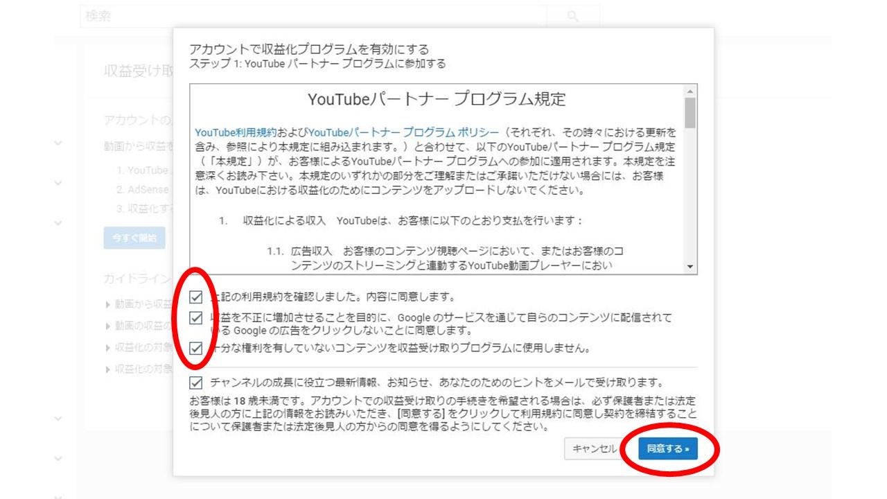 YouTubeパートナープログラム規定への同意