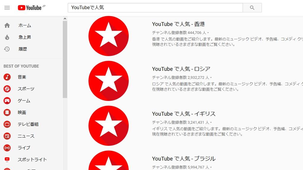 YouTubeで人気