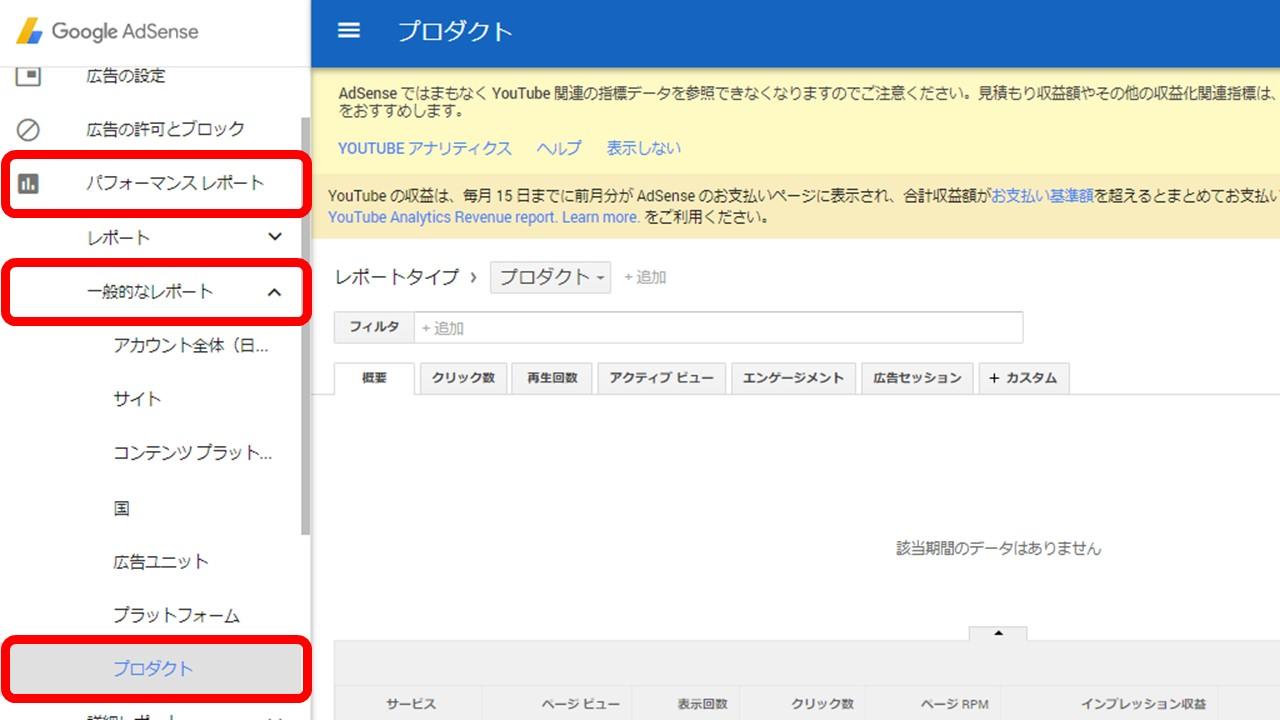 Googleアドセンス パフォーマンスレポート