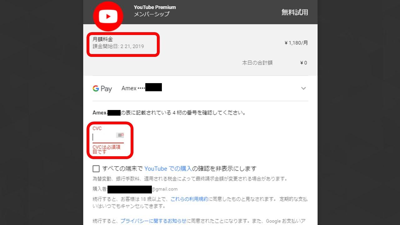 YouTube Premiumの支払い方法選択画面