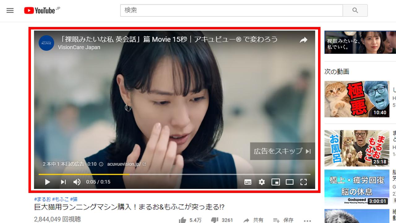 YouTube 再生前の動画広告