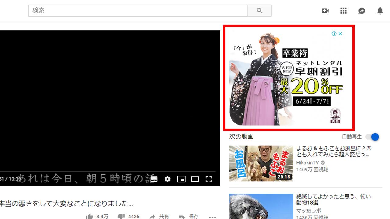 YouTube 再生ページのバナー広告